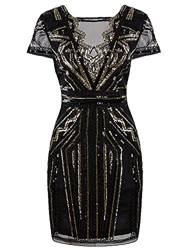 Vijiv 1920s Short Prom Dresses V Neck Inspired Sequins Cocktail Flapper Dress, X-Large, Gold (Beaded Short Dress Cocktail Dress)