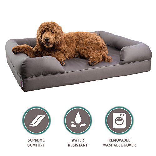 Orthopedic Bolster Pet Sofa Bed - Memory Foam Mattress - With Removable Washable Cover - Extra Large - 46 x 36 x 10 inch