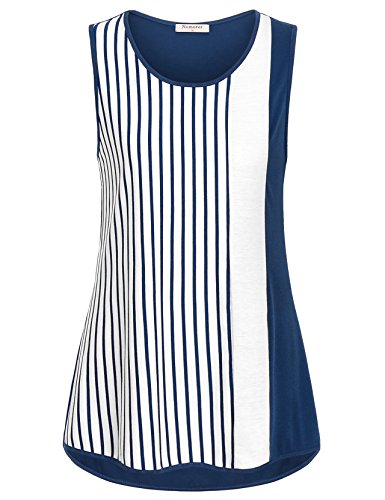 Nomorer Tank Top Blouses for Women, Sleeveless Shirts Workout Tank Tops Blue and White Striped Tank Top (Blue, (Blue Striped Tank Top Shirt)