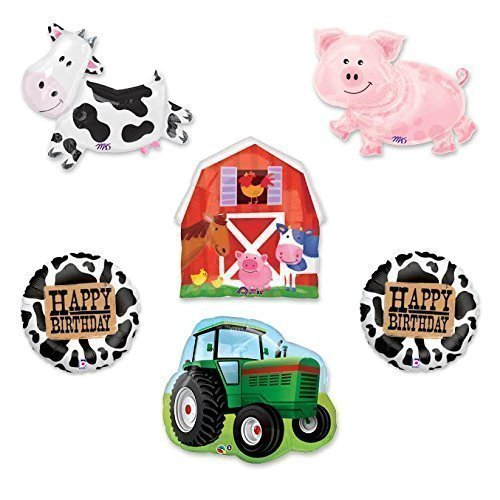 Barn Farm Animals Birthday Party Cow, Pig, Tractor, Barn Balloons Decorations Supplies Anagram