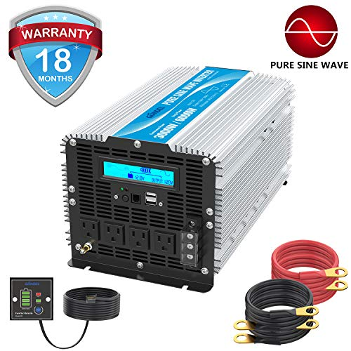 (Pure Sine Wave Power Inverter 3000Watt DC 12 Volt to 120Volt with LCD Display and Remote Control 2X 2.4A USB and 4X AC Outlets with Brand GIANDEL)