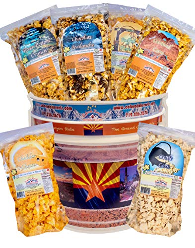 Popcorn by Colorado Kernels Popcorn Delights | CELEBRATE ARIZONA 3.5 Gal Bucket with 6 lg resealable bags | Kettle Corn, Cheddar, Caramel, Chocolate, Almonds/Pecans, Buffalo Ranch