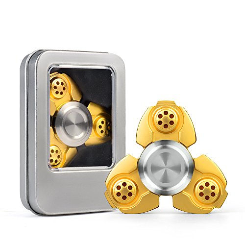 Price comparison product image Dacra For Alien UFO Tri-Spinner Golden Fidget ADHD EDC Focus Longer rotation Toy With Stable Bearing and Smaller Friction, Beautiful Look and Great for Anxiety Relief & Deep Thought (yellow)