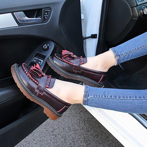 europee donne spesse scarpe Institute dimensioni One Zh grandi Nappe Acorn americane in con di One piccole pelle e piatte PtnvqY