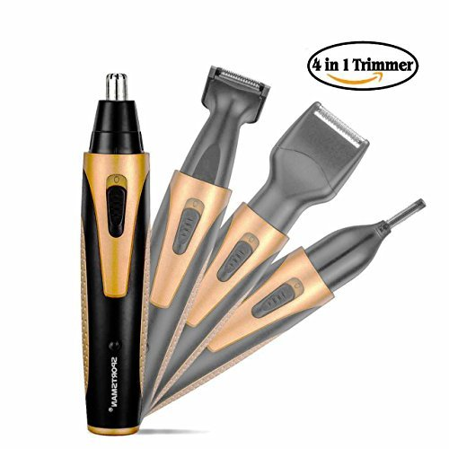 Nose ear Hair Trimmer, 4 in 1 Rechargeable Nose Hair Trimmer for Beard, Eyebrow and Ear Grooming