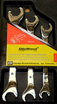 Alden Wrench 56039 Double Head Ratching Open-End Wrench 3 Piece Set Metric from Alden Wrenches