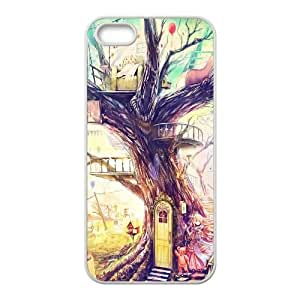 Pintura caja del teléfono celular Chica Animal Árbol iPhone 5 5S funda blanca del teléfono celular Funda Cubierta EEECBCAAL73526