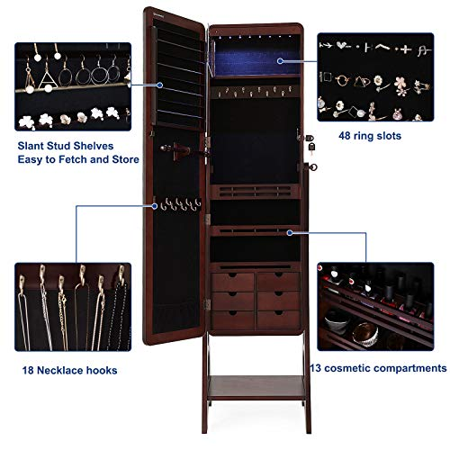 SONGMICS 8 LEDs Jewelry Cabinet Armoire with Beveled Edge Mirror, Gorgeous Jewelry Organizer Large Capacity Brown Patented Mother's Day Gift UJJC89K by SONGMICS (Image #4)