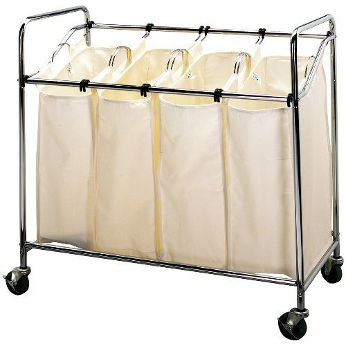 Household Essentials Four Bag Laundry Sorter, Chrome Finish