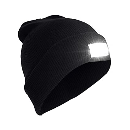 AMGlobal Unisex Knit Beanie Hands-Free Lighted Hat With 5 Built-in LED  Flashlight for Walking 5d1b39cfd0ee