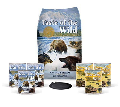 Taste of the Wild Dog-Food Grain Free Pacific Stream Salmon 5lb Bag 1 Bag 6 Cans 1 Lid Plus 1 Dog Toy and 1 Leash 10 Total Items