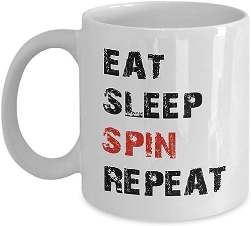 Taza de café para ciclismo 11 OZ-Eat Sleep Spin Repeat Spinning ...