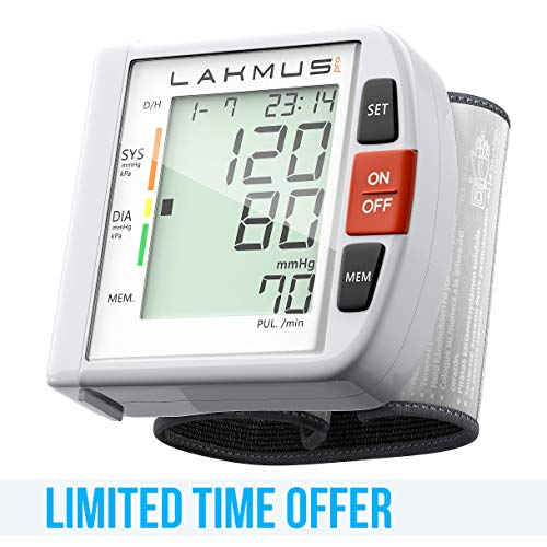 Lakmus Blood Pressure Monitor Cuff Wrist - Digital BP Monitor FDA Approved - Fully Automatic Accurate Wrist Blood Pressure Monitor for Home - Wrist BP Machine with Large LCD Display Carrying Case 2AAA