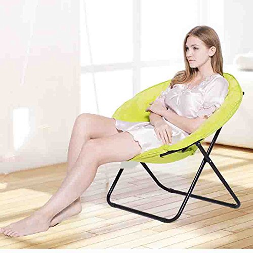 Moon Chair Leisure Camping Chair Without Cup Holder Steel Frame Folding Padded Portable (Color : Yellow)