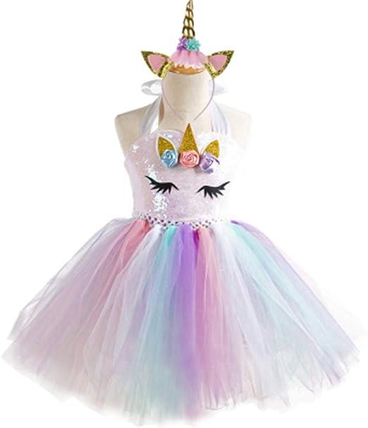 BARBEDINGROSE Vestido de niña Rainbow Pettiskirt Princesa ...