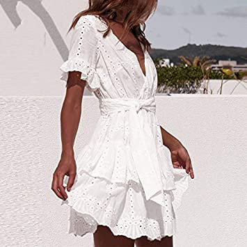 CEGFXCSW Vestido Bordado Blanco Vestidos De Algodón De Verano De Manga Corta Ocasional De Playa Vestido De Verano con Cuello En V Ahueca hacia Fuera El Mini Vestido: Amazon.es: Deportes y aire
