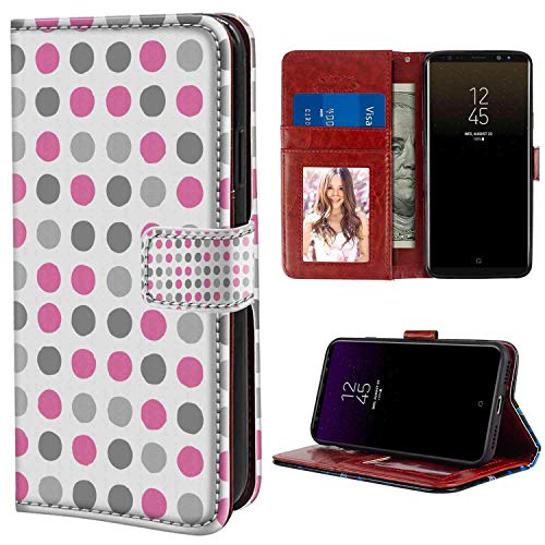 Dot European - Leather Case Fits for Samsung Galaxy Note 8 6.3-Inch Geometric Traditional Retro Polka Dots Design European Ancestral Motif Pastel Colors Pink White Grey Texture with Magnetic Case