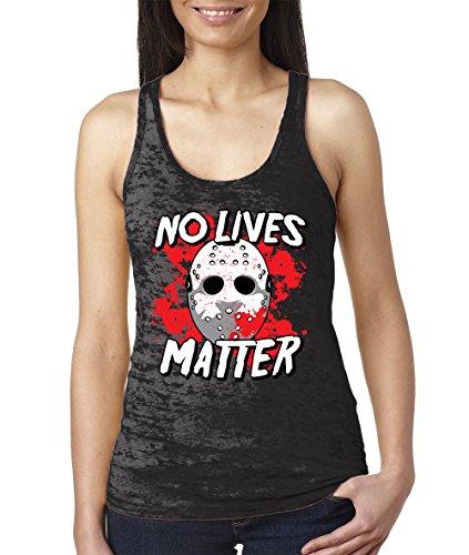 Women's No Lives Matter Burnout Racerback Tank Top (Black, -