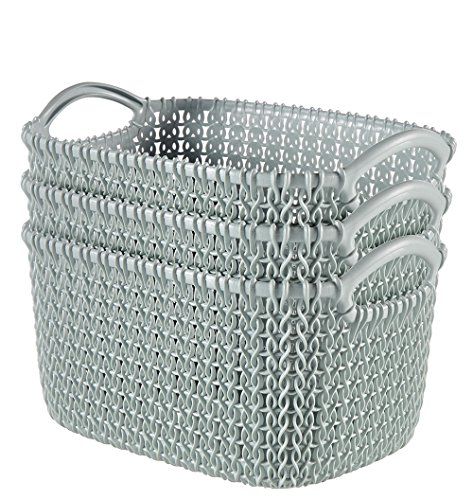 Keter 232018 Knit Small Basket 3-Piece Set, Misty - Basket Knit