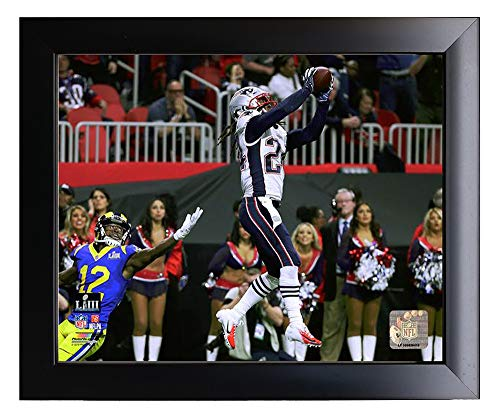 (Framed New England Patriots Stephon Gilmore Makes an Interception During Super Bowl LIII. 8x10 Photo Picture.)