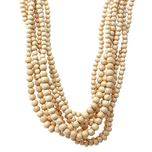 - Rosemarie Collections Women's Wooden Bead Natural Multi Strand Statement Bib Necklace