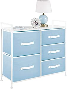 mDesign Dresser Storage Chest - Sturdy Steel Frame, Wood Top, Easy Pull Fabric Bins - Organizer Unit for Bedroom, Hallway, Entryway, Closets - 5 Drawers - Light Blue/White