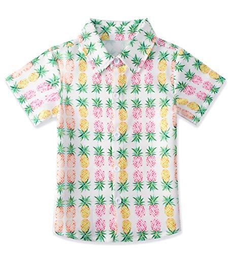 - uideazone Toddler Boys Pink Pineapple Cartoon Print Shirts Children's Short Sleeve Polo Shirt Hawaiian Party Wear Clothing (Size 7-8T)