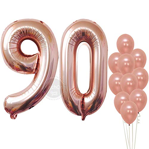 Rose Gold 90 Number Balloons - Large, 9 and 0 Mylar Rose Gold Balloons, 40 Inch | Extra Pack of 10 Latex Baloons, 12 Inch | Great 90th Birthday Party Decorations| 90 Year Old Rose Gold Party Supplies