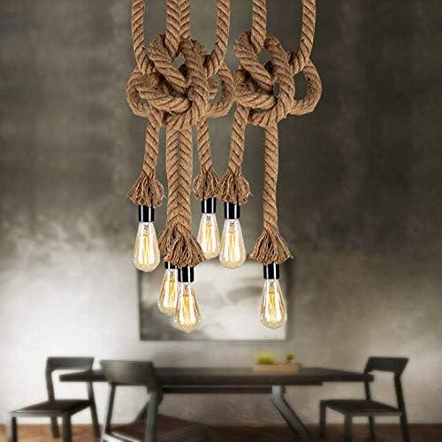 ZJDK Hanfseil Pendelleuchte - Loft Kreative Persönlichkeit Industrielampe Edison Birne (Birne Nicht enthalten)