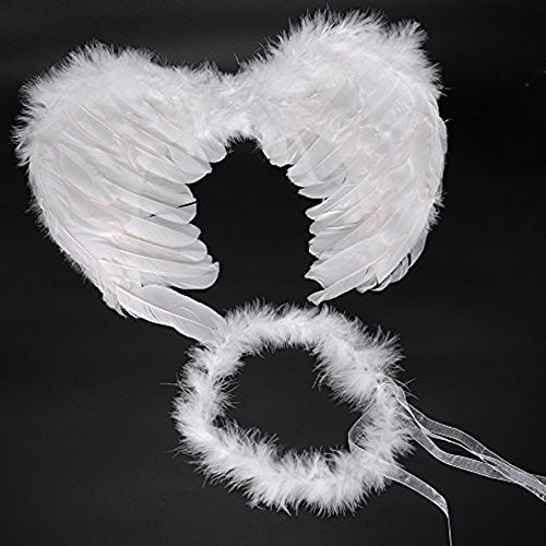 Heavenly Devil Child Costume (HUPLUE Kids Angle Wings & Headband Dress Up Acessory for Party ,Photograph, Cosplay Halloween Christmas Party Costumes)