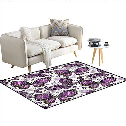 Carpet,Ethnic Asian Butterflies with Paisley Motif on Wings Flowers Art Print,Indoor Outdoor Rug,Plum Purple Lilac White 36