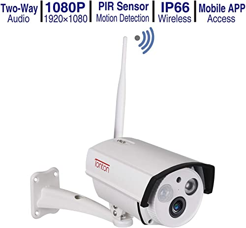 2019 New Tonton 1080P 2.0MP Full HD Add-on Standalone Wireless IP Security Bullet Camera,Two-Way Audio,Waterproof Mental Housing and PIR Sensor,Support Max 128GB SD Card,Compatible
