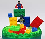 Super Hero LEGO BATMAN Birthday Cake Topper Set Featuring Figures and Decorative Themed Accessories