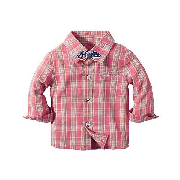 Yilaku Vestiti per Neonati Camicia a Quadri + Papillon + Bretelle + Pantaloni 4Pcs Ragazzi del Bambino Bambini Abito da… 2