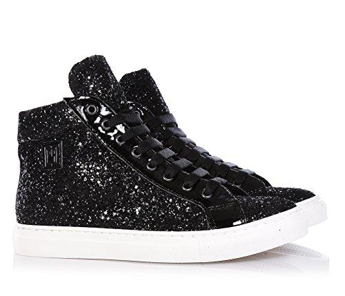 CARLO PIGNATELLI - Schwarzer Sneaker mit Schnürsenkeln aus Glitzern und Leder, seitlich ein Reißverschluss, seitlich ein Logo, sichtbare Nähte, Mädchen, Damen