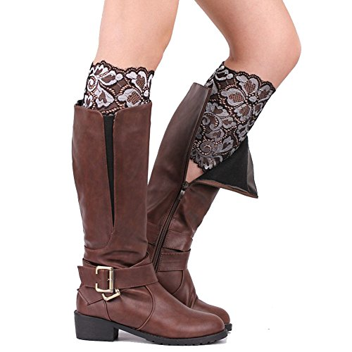 HNYG Boot Cuffs with Lace Floral Women Calf Bands Leg Warmer Socks A638 Silver (Boot Sock Silver)