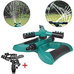 Lawn Sprinkler 2 Water Sprinklers Head For Lawns Garden Yard Outdoor Automatic 360 Rotating Sprinklers Lawn Irrigation System Oscillating Rotary High Impact Sprinkler System - Up 3600 sqft Coverage