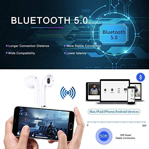 Bluetooth 5.0 Wireless Earbuds Noise Canceling Sports 3D Stereo Headphones with 24Hr Playtime IPX5 Waterproof, Pop-ups Auto Pairing, Built-in Binaural Mic Headset for Android iPhone Apple Airpods