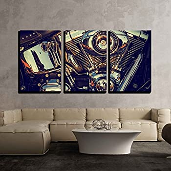wall26 - 3 Piece Canvas Wall Art - Close Up of a High Power Motorcycle, Classic Vintage Style. - Modern Home Decor Stretched and Framed Ready to Hang - 16