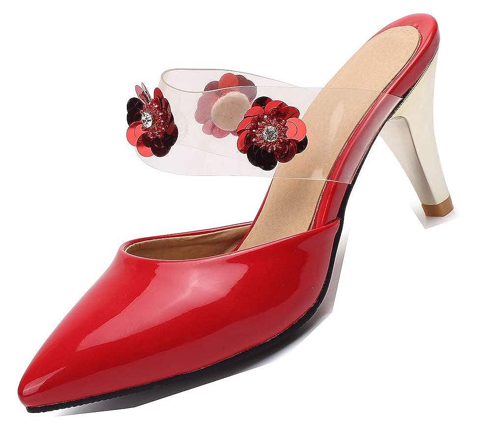 5cc75eb3b5ea86 Aisun Femme Original Bout Pointu Fleurs Décor à Talon Moyen 7CM Cadeaux  Mules: Amazon.fr: Chaussures et Sacs