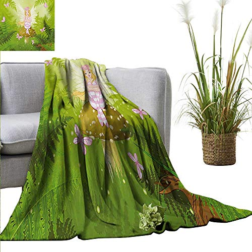 homehot Nursery Living Room/Bedroom Warm Blanket Magic Fairy Girl with Floral Hairstyle in Green Forest Pink Butterflies Sofa Chair 70