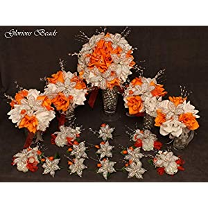 Wedding bouquet package Orange Beaded Lily flower 17 piece with pumpkin orange and White Roses, Unique French beaded White and Silver Lilies and sprays. Includes Bouquets Corsages and Boutonnieres 17