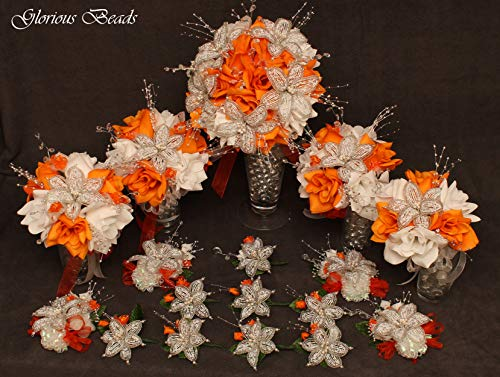 (Wedding bouquet package Orange Beaded Lily flower 17 piece with pumpkin orange and White Roses, Unique French beaded White and Silver Lilies and sprays. Includes Bouquets Corsages and Boutonnieres)