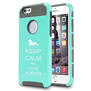 Apple iPhone 5 5s Shockproof Impact Hard Case Cover Keep Calm And Love Horses (Teal)