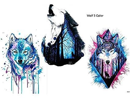 Wolf Tattoo Agua Colores Multicolor 3 Sheets brazo Brazo tatuaje ...