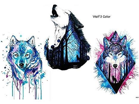 Wolf Tattoo Agua Colores Multicolor 3 Sheets Brazo Brazo Tatuaje