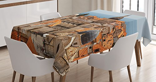 Ambesonne European Cityscape Decor Tablecloth, Aerial View on The Old City of Dubrovnik City Walls Medieval Croatia European Deco, Dining Room Kitchen Rectangular Table Cover, 52 X 70 inches -