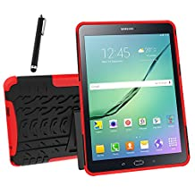 Galaxy Tab S2 9.7 Case, Tab S2 9.7 Case, Asstar Shockproof Heavy Duty Rugged Hybrid Kickstand Protective Case for Samsung Galaxy Tab S2 9.7 inch Tablet with 1x Stylus Pen for Free (Red)