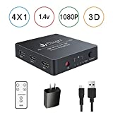 Dinger HDMI Switch, 4 Port HDMI Switch with Remote Control and AC Power Adapter, HDMI Switches Supports 4K, 1080P, 3D