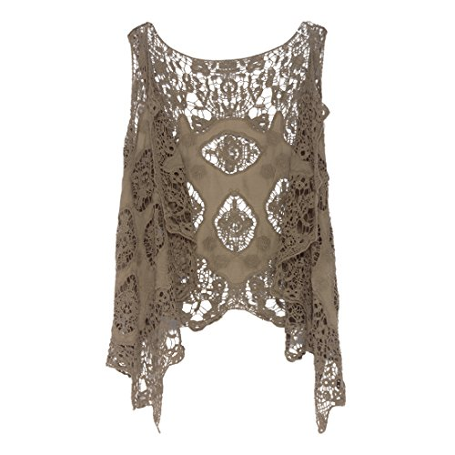 (jastie Open Stitch Cardigan Boho Hippie Crochet Vest (Khaki))